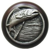 Notting Hill NHW-708W-AP, Leaping Trout Wood Knob in Antique Pewter/Dark Walnut Wood, Great Outdoors Collection