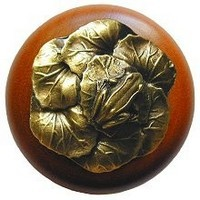 Notting Hill NHW-709C-AB, Leap Frog Wood Knob in Antique Brass /Cherry Wood, All Creatures Collection