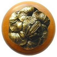 Notting Hill NHW-709M-AB, Leap Frog Wood Knob in Antique Brass /Maple Wood, All Creatures Collection