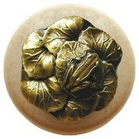 Notting Hill NHW-709N-AB, Leap Frog Wood Knob in Antique Brass /Natural Wood, All Creatures Collection