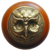 Notting Hill NHW-711C-AB, Wise Owl Wood Knob in Antique Brass /Cherry Wood, Great Outdoors