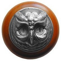 Notting Hill NHW-711C-AP, Wise Owl Wood Knob in Antique Pewter/Cherry Wood, Great Outdoors Collection