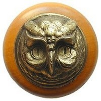 Notting Hill NHW-711M-AB, Wise Owl Wood Knob in Antique Brass /Maple Wood, Great Outdoors