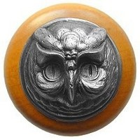 Notting Hill NHW-711M-AP, Wise Owl Wood Knob in Antique Pewter/Maple Wood, Great Outdoors Collection