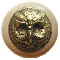 Notting Hill NHW-711N-AB, Wise Owl Wood Knob in Antique Brass /Natural Wood, Great Outdoors
