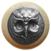 Notting Hill NHW-711N-AP, Wise Owl Wood Knob in Antique Pewter/Natural Wood, Great Outdoors Collection