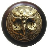 Notting Hill NHW-711W-AB, Wise Owl Wood Knob in Antique Brass /Dark Walnut Wood, Great Outdoors