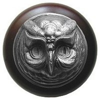 Notting Hill NHW-711W-AP, Wise Owl Wood Knob in Antique Pewter/Dark Walnut Wood, Great Outdoors Collection