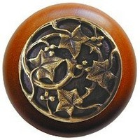 Notting Hill NHW-715C-AB, Ivy With Berries Wood Knob in Antique Brass/Cherry Wood, Leaves Collection