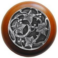 Notting Hill NHW-715C-AP, Ivy With Berries Wood Knob in Antique Pewter/Cherry Wood, Leaves Collection