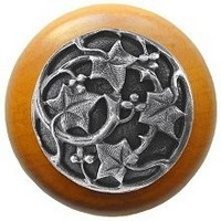 Notting Hill NHW-715M-AP, Ivy With Berries Wood Knob in Antique Pewter/Maple Wood, Leaves Collection