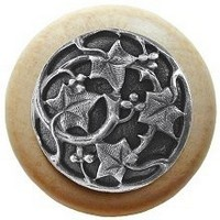 Notting Hill NHW-715N-AP, Ivy With Berries Wood Knob in Antique Pewter/Natural Wood, Leaves Collection