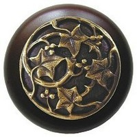 Notting Hill NHW-715W-AB, Ivy With Berries Wood Knob in Antique Brass/Dark Walnut Wood, Leaves Collection
