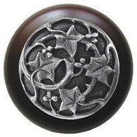 Notting Hill NHW-715W-AP, Ivy With Berries Wood Knob in Antique Pewter/Dark Walnut Wood, Leaves Collection