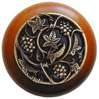 Notting Hill NHW-729C-AB, Grapevines Wood Knob in Antique Brass/Cherry Wood, Tuscan Collection