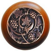 Notting Hill NHW-729C-AC, Grapevines Wood Knob in Antique Copper/Cherry Wood, Tuscan Collection