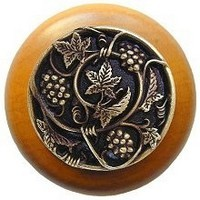 Notting Hill NHW-729M-AB, Grapevines Wood Knob in Antique Brass/Maple Wood, Tuscan Collection