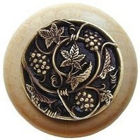 Notting Hill NHW-729N-AB, Grapevines Wood Knob in Antique Brass/Natural Wood, Tuscan Collection