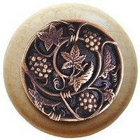 Notting Hill NHW-729N-AC, Grapevines Wood Knob in Antique Copper/Natural Wood, Tuscan Collection
