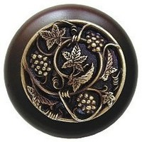 Notting Hill NHW-729W-AB, Grapevines Wood Knob in Antique Brass/Dark Walnut Wood, Tuscan Collection