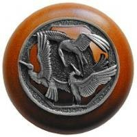 Notting Hill NHW-737C-AP, Crane Dance Wood Knob in Antique Pewter/Cherry Wood, Arts & Crafts Collection