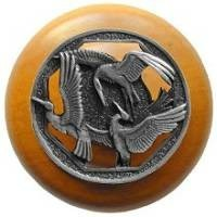 Notting Hill NHW-737M-AP, Crane Dance Wood Knob in Antique Pewter/Maple Wood, Arts & Crafts Collection