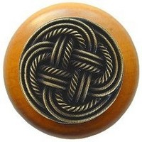 Notting Hill NHW-739M-AB, Classic Weave Wood Knob in Antique Brass/Maple Wood, Classic