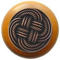 Notting Hill NHW-739M-AC, Classic Weave Wood Knob in Antique Copper/Maple Wood, Classic