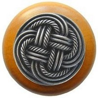 Notting Hill NHW-739M-AP, Classic Weave Wood Knob in Antique Pewter/Maple Wood, Classic