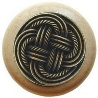 Notting Hill NHW-739N-AB, Classic Weave Wood Knob in Antique Brass/Natural Wood, Classic