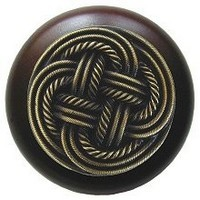 Notting Hill NHW-739W-AB, Classic Weave Wood Knob in Antique Brass/Dark Walnut Wood, Classic