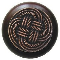 Notting Hill NHW-739W-AC, Classic Weave Wood Knob in Antique Copper/Dark Walnut Wood, Classic