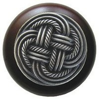 Notting Hill NHW-739W-AP, Classic Weave Wood Knob in Antique Pewter/Dark Walnut Wood, Classic