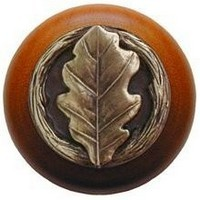Notting Hill NHW-744C-AB, Oak Leaf Wood Knob in Antique Brass/Cherry Wood, Leaves Collection