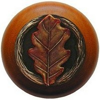 Notting Hill NHW-744C-BHT, Oak Leaf Wood Knob in Hand-Tinted Antique Brass/Cherry Wood, Leaves Collection