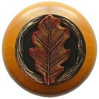 Notting Hill NHW-744M-BHT, Oak Leaf Wood Knob in Hand-Tinted Antique Brass/Maple Wood, Leaves Collection