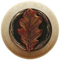 Notting Hill NHW-744N-BHT, Oak Leaf Wood Knob in Hand-Tinted Antique Brass/Natural Wood, Leaves Collection