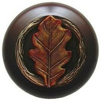 Notting Hill NHW-744W-BHT, Oak Leaf Wood Knob in Hand-Tinted Antique Brass/Dark Walnut Wood, Leaves Collection