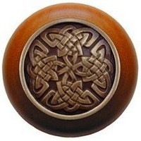 Notting Hill NHW-757C-AB, Celtic Isles Wood Knob in Antique Brass/Cherry Wood, Jewel Collection