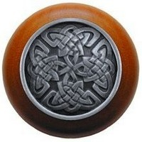 Notting Hill NHW-757C-AP, Celtic Isles Wood Knob in Antique Pewter/Cherry Wood, Jewel Collection