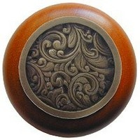 Notting Hill NHW-759C-AB, Saddleworth Wood Knob in Antique Brass/Cherry Wood, Classic Collection