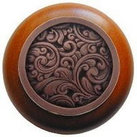 Notting Hill NHW-759C-AC, Saddleworth Wood Knob in Antique Copper/Cherry Wood, Classic Collection