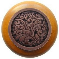 Notting Hill NHW-759M-AC, Saddleworth Wood Knob in Antique Copper/Maple Wood, Classic Collection