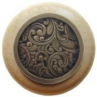 Notting Hill NHW-759N-AB, Saddleworth Wood Knob in Antique Brass/Natural Wood, Classic Collection