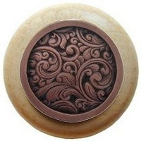Notting Hill NHW-759N-AC, Saddleworth Wood Knob in Antique Copper/Natural Wood, Classic Collection