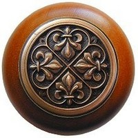 Notting Hill NHW-760C-AC, Fleur-De-Lis Wood Knob in Antique Copper/Cherry Wood, Olde World Collection