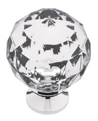 Liberty Hardware P30101-CHC-C, Acrylic Faceted Knob, 1-3/16 Dia, Chrome And Clear