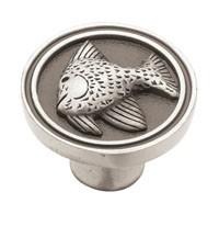 Liberty Hardware PBF659-BSP-C, Fish Knob, 1-3/8 Dia, Brushed Satin Pewter