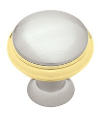Liberty Hardware PN0335-PBN-C, Knob, 1-3/8 Dia, Polished Brass & Satin Nickel
