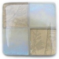 Glace Yar SQ-401BR1, Square 1in Lng Glass Knob, 4 Tiles, Beige Iridescent & Light Champagne Fern Textured Glass, Beige Grout, Brass Base